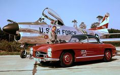 North American F-86D Sabre interceptor and 1955 Mercedes 300SL Roadster...sweet combo