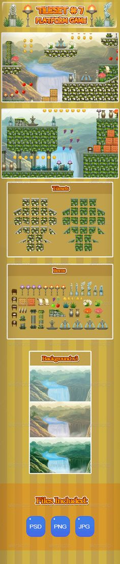 2D Tileset Platform Game 7 by blueacesky This is a tileset for a 2D plataform game. You can easily create levels for your 2D game. The files are in transparent PNG, PSD an