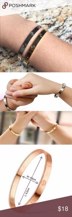 One day sale rose gold🌺 love hinge bracelets! Brand new boutique item not real Cartier super cute heavy wait material absolutely in love with these right now😍 all three colors in stock 2 of gold and silver available push down to open W 5.6cm x L 6.2cm UPDATE: only rose gold left Jewelry Bracelets