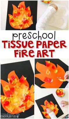 This tissue paper fire art project is an adorable craft that incorporates lots of fine motor skills practice. Great for tot school, preschool, or even kindergarten!