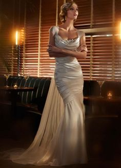 Women's #Fashion #Clothing: #Dresses: Elegant White Satin #Wedding Dress with Cascading Train and #Floral Detail: Clothes