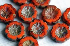 Red Pansy Beads  Czech Glass Pansies   Hawaiian by BeadSoupBeads