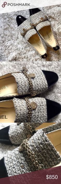 Almost NEW! Chanel tweed gold charms chain loafer I bought this pair in San Francisco Neiman Marcus for $1200. It's a rare limited edition. Only wore once. Everything about this loafer is in perfect condition. Very clean sole. CHANEL Shoes Flats & Loafers