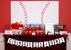 Baseball Party | Concessions Stand White baseball on a canvas??? Might be cute decoration