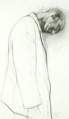 Ernest Pignon-Ernest ~ Etude pour derrière la vitre, 1997
