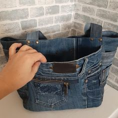 Old Jeans, Denim Bag, Market Bag, Casual Bags, Distressed Jeans, Cosmetic Bag, Shabby, Etsy, Kitchen