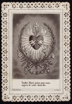 Sacred Heart of Mary, French prayer card.