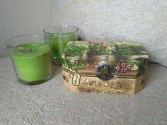 caja de madera decorada con decoupage y pintada a mano
