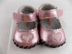 One Ruby Lane Baby Shoes Shiny Pink with Heart  Size 0-3 Months  New in Box #OneRubyLane #CasualShoes
