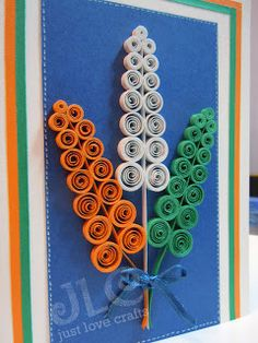 Presenting - Tricolor Paper Quilling ideas for India's Independence Day - Tricolor cards, flowers , earrings all using paper strips Independence Day Activities, 15 August Independence Day, Independence Day Decoration, Indian Independence Day, Quilling Cards, Paper Quilling, Quilling Designs, Quilling Ideas, Quilling Tutorial
