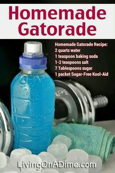 Homemade Gatorade Sports Drink Recipe *I'd make it without the Kool Aid Homemade Gatorade, Homemade Electrolyte Drink, Homemade Pedialyte, Homemade Alcohol, Homemade Tea, Homemade Popsicles, Homemade Playdough, Sports Food, Sports Drink