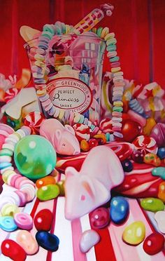 Oil Painting Kate Brinkworth: I love how everything is spilling out of the sweet jar at the back of the painting, giving every sweet a different size and perspective. Pop Art Food, Art Doodle, Sweet Drawings, Observational Drawing, Food Artists, Candy Art, Food Painting, A Level Art, Gcse Art