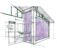 croquis d 39 un concept salle de bains avec int gration de la douche et de l 39 espace bains philippe. Black Bedroom Furniture Sets. Home Design Ideas