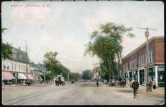 A really old postcard of Maine Street in Brunswick, Maine. Many of the same  buildings are still there today.
