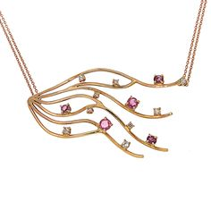 Rose gold 18k necklace with rubies 1.20 ctw and diamonds 0.55 ctw