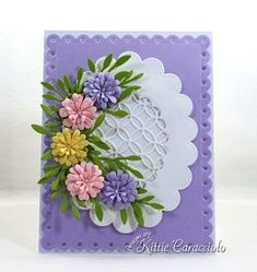 Come see how I made this elegant die cut flowers and scalloped lattice frame card. Handmade Greetings, Greeting Cards Handmade, Handmade Flowers, Handmade Crafts, Cut Flowers, Paper Flowers, Window Cards, Quilling Cards, Marianne Design