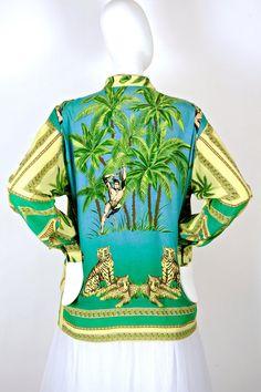 1c3ea21a4091 Vintage VERSACE Tarzan Jungle Print Blouse Top