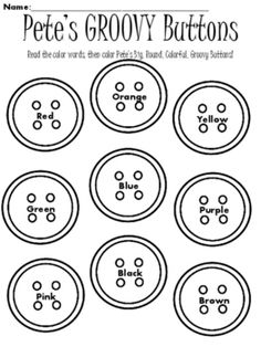 Pete the Cat, Color Sight Words, Pete the Cat Groovy Buttons, This can be used from Prek-K.  Can be used as a following directions or color sight words assessment or worksheet.  Use with story: Pete the Cat and His Four Groovy Buttons