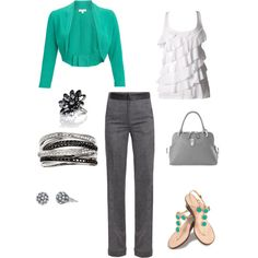 Work outfit? Love the green, white and grey combo. And, I cannot wait for warm weather to wear cute sandals!