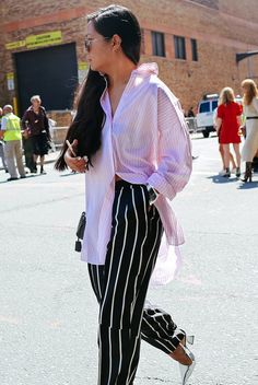 striped-pants-shirt-silver-shoes-street-style