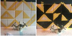 DIY - Luxurious Art Deco Inspired Geometric Tile Backsplash - From Evija with Lo. DIY – Luxurious Art Deco Inspired Geometric Tile Backsplash – From Evija with Love – DIY – Diy Furniture Projects, Diy Craft Projects, Upcycling Projects, Dark Interiors, Beautiful Interiors, Geometric Tiles, Types Of Craft, Pink Accents