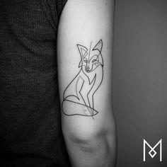 Single Line Fox Tattoo by Mo Ganji #TattooYou