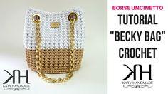 "TUTORIAL ""Becky Bag"" UNCINETTO - BORSA CON OCCHIELLI - DIY BAG ● Katy Ha... Crochet Videos, Crochet Bag Tutorials, Diy Crochet, Crochet Hats, Crochet Patterns, Knitted Bags, Lady Dior, Handmade Bags, Crochet Handbags"