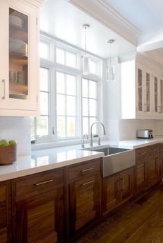 Image result for brown lower cabinets white upper cabinets