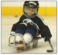 This is my son Dylan (cerebral palsy, now 9) playing Sled Hockey at the Tampa Bay Times Forum in Tampa, Florida. There is nothing that he won't do. Plays Miracle League Baseball & P.E. Soccer. GO Big D! Always smiling and cares for others.    http://www.cpfamilynetwork.org