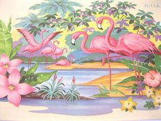 Vintage flamingos decal transfer flamingos by 3floridagirls
