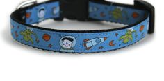 Dog Collar with Aliens and Astronauts Blue Small by youhadmeatwoof, $17.00