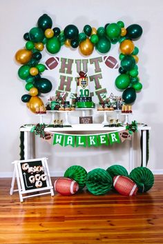 Kara's Party Ideas Vintage Meets Modern Football Birthday with Football Party Decoration Ideas Football Party Decorations, Football Themes, Birthday Party Decorations, Birthday Ideas, Football Banquet, Football Tailgate, Football Snacks, Tailgating, First Birthday Parties