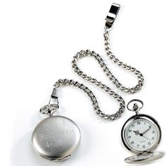 Engraved Silver Brushed Pocket Watch | Snappy Photo Gifts