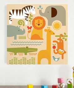 Another great find on #zulily! 18'' x 18'' Safari Parade Wood Print #zulilyfinds