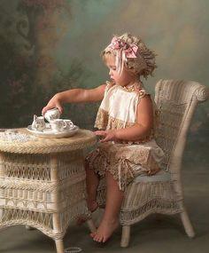 serving tea...