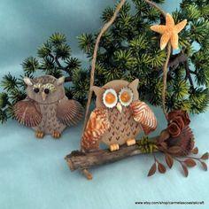 2 piece set of seashell owls_owl wall hangings for beach decor_fall beach decor