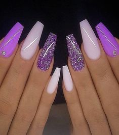 Stunning Nail Art Designs & Images for Ladies – Rosa Pink Nails Purple Acrylic Nails, Best Acrylic Nails, Purple And Pink Nails, Purple Glitter Nails, Acrylic Nails For Summer Glitter, Bright Gel Nails, Purple Stiletto Nails, Acrylic Nail Designs Glitter, Acrylic Nails Coffin Glitter