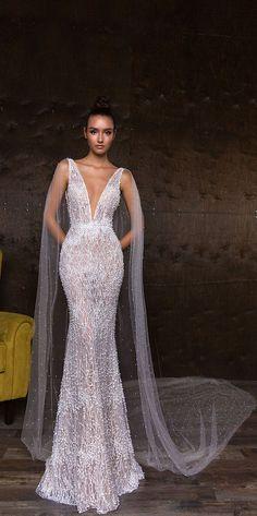 Deep V neck mermaid wedding dress : Crystal Design bridal gown #weddinggown #weddingdress #bridalgown
