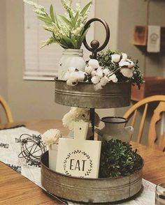 51 Best Farmhouse Dining Room Table Decoration Ideas - Page 45 of 51 Antique Farmhouse, Farmhouse Kitchen Decor, Country Farmhouse, Modern Farmhouse, Country Kitchens, Farmhouse Ideas, Interior Simple, Cotton Decor, Tiered Stand