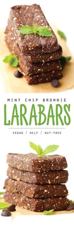 Homemade Larabars in a new favorite mint chocolate flavor. These nut-free energy bars are a healthy high-carb low-fat snack with just 5 ingredients!