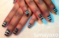 Forest Green Stripes by kimayaxo #Sephora #sephoranailspotting