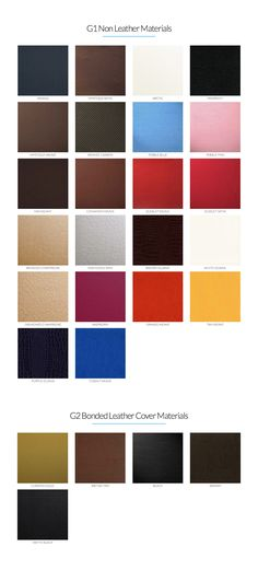 The G1 and G2 materials are sleek and rich in color, and they can paired together for a variety of cover options.