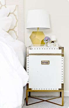 Campaign Chest Nightstand with DIY Metal Base {Pottery Barn inspired}