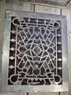 Large Ornate Metal Heat Grate Antique Vintage Cast Iron