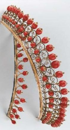 Two antique tiaras, in gold and faceted coral beads. 19th century