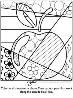 Apple pop art coloring page PDF
