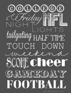 Game day Football Printable! Cute when framed! #collegefootball #printable #free