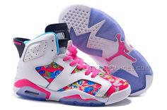 "5d5cbed0472e 2016 Girls Air Jordan 6 ""Floral Print"" Pink White Shoes For Sale"