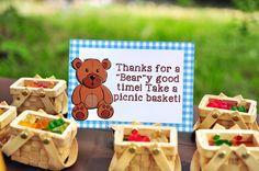 Gummy Bear filled picnic favor baskets from a Teddy Bear Picnic Party via Kara's Party Ideas | KarasPartyIdeas.com (21)