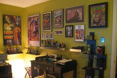 Geek office inspiration for framed posters & action figures/bobble heads; a necessity for my next home office